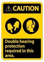 aviso sinal de proteção auditiva dupla necessária nesta área com protetores auriculares e protetores