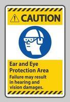cuidado, sinal de área de proteção dos ouvidos e olhos, a falha pode resultar em danos à audição e visão