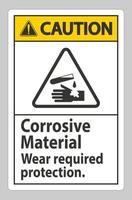Cuidado, sinal de materiais corrosivos, use proteção necessária vetor