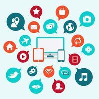 Ícones de mídia social com bolha de bate-papo e vetor de gadget