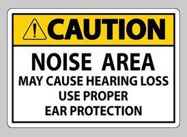 atenção sinal de área de ruído pode causar perda auditiva use proteção auditiva adequada