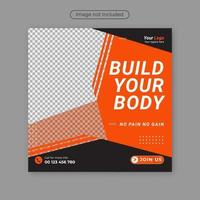 fitness gym mídia social postar design de banner quadrado. vetor