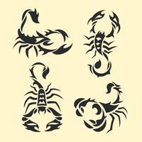 Conjunto de tatuagem de escorpião tribal vetor