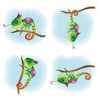coleção camaleões fofos com traje étnico vetor