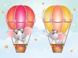 elefante fofo em balão de ar quente vetor