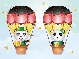 panda fofo em balão de ar quente com vestido tradicional da oktoberfest vetor