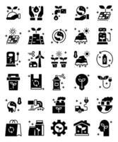 meio ambiente, ecologicamente correto 30 ícones sólidos simples vetor