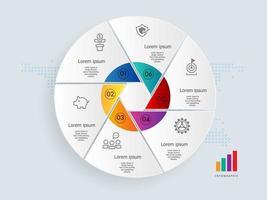 modelo de elemento de apresentação de infográficos de círculo abstrato com ícones de negócios vetor