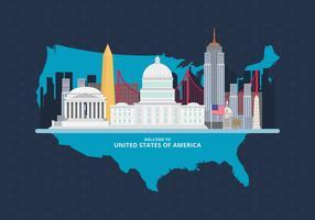 Bem vindo aos EUA. Cartaz de Estados Unidos da América. vetor
