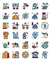 meio ambiente, ecologicamente correto 30 ícones de contorno de preenchimento simples vetor
