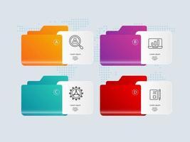 pasta infográfico apresentação elemento tamplate com ícones de negócios vetor