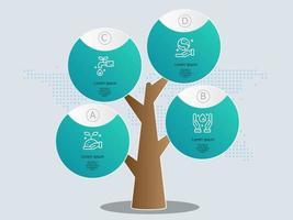 modelo de elemento de infográficos de árvore abstrata com ícone favorável ao meio ambiente vetor