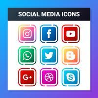 Conjunto de ícones de redes sociais