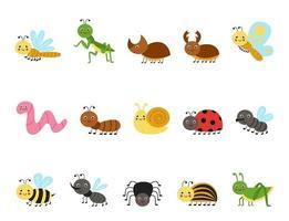 conjunto de insetos bonito dos desenhos animados. ilustrações vetoriais. vetor