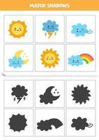 encontrar sombras de eventos meteorológicos bonitos. cartões para crianças. vetor