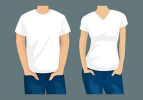 T-shirt modelo homem e mulher vetor