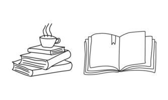 pilha de livros com uma xícara de chá, livro aberto, desenho de linha. ilustração do objeto vetorial, design de esboço desenhado de mão minimalismo. conceito de estudo e conhecimento vetor