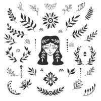 rosto e folhas de mulher. desenhado à mão. elementos de design, tatuagens, adesivos. ilustração sobre o tema de salão de beleza, massagem, cosméticos, spa. ilustração vetorial isolada em um fundo branco. vetor