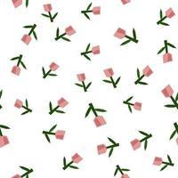 escandinavo primavera flor tulipa vetor crianças padrão de fundo sem emenda para chá de bebê, design têxtil. textura simples para papel de parede nórdico, preenchimentos, fundo de página da web