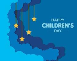 dia plano da criança com nuvem vetor