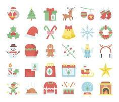 ícones de vetor plana de feliz natal
