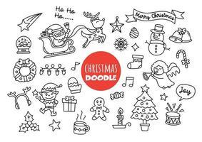 doodle kawaii de natal vetor