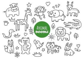 doodle kawaii animal vetor