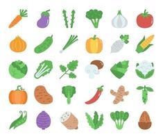 ícones vetoriais planos vegetais vetor