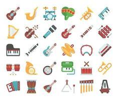 ícones de vetor plana de instrumento musical