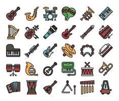 ícones de vetor de contorno de cor de instrumento musical