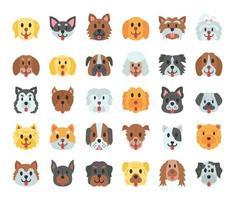 cão raças ícones de vetor plana