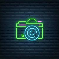 placa de néon da câmera vetor