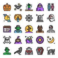 ícones perfeitos de pixel de linha de cor de halloween vetor