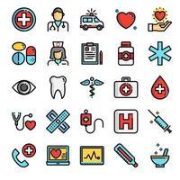 ícones de linha de cor perfeita de pixel de saúde vetor