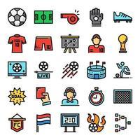 ícones de linha de cores perfeitas de pixel de futebol vetor
