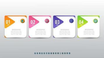 infográficos abstratos de 4 etapas para fluxo de trabalho ou apresentação. vetor