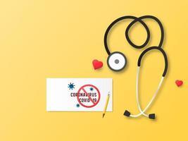 ícone médico do estetoscópio com coronavírus de cuidados de saúde. vetor