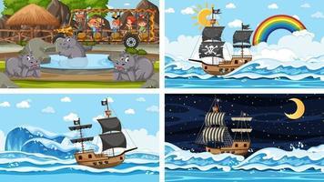 conjunto de diferentes cenas com animais no zoológico e navio pirata no mar vetor
