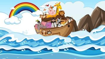 arca de noé com animais na cena do oceano vetor