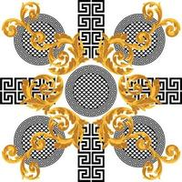 ouro barroco com padrão grego vetor