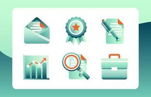 conjunto gradiente de ícones de negócios vetor