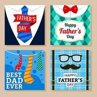 conjunto de cartão de felicitações para o dia dos pais vetor