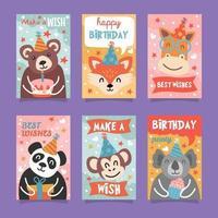 coleção de cartões de aniversário de animais fofos vetor
