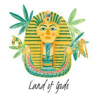 Sarcófagos Egípcios Aquarela Com Folhas vetor