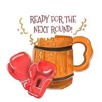Luvas de boxe vermelhas com barril de cerveja para o dia internacional da cerveja vetor