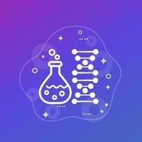 ícone de biotecnologia e teste genético com vidro de laboratório e DNA, vetor