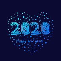 feliz ano novo design de cartão vetorial de 2020 vetor