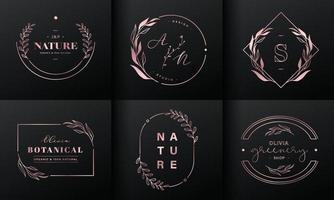 coleção de design de logotipo de luxo. emblemas de ouro rosa com iniciais e decoração floral para logotipo de marca, identidade corporativa vetor