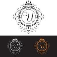 letra u. modelo de logotipo de luxo floresce linhas caligráficas de ornamento elegante, ilustração vetorial vetor