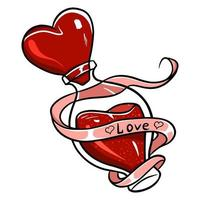 Poção do amor. poção do amor de vetor. uma bebida que faz você se apaixonar por si mesmo. vetor